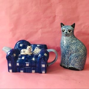 Vintage porcelain tea pot and cat figurine